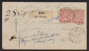 Altdeutschland Norddeutscher Bund Brief MEF 4 Paar Wismar nach Parum b. Güstrow