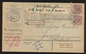 Bahnpost D. Reich Brief Paketkarte MIF 50 Paar Adler Berlin Zürich Schweiz
