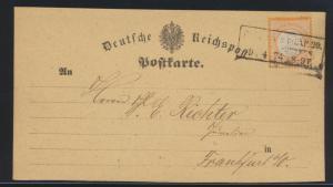 Deutsches Reich Brustschild Brief Karte EF 18 nach Frankfurt 9.4.1874