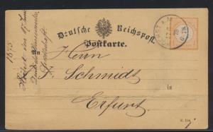 Deutsches Reich Brustschild Vordruckkarte EF 18 Höchst Main n. Erfurt Wasserwerk