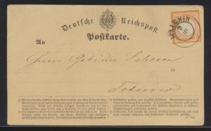 Deutsches Reich Brustschild Brief Karte EF 18 K2 Malchin