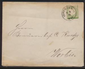 Deutsches Reich Brustschild Brief 17 a K1 LEIPZIG P.V.N.o 14 n. Worbis 8.5.1874