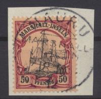 Deutsche Kolonien Marshall-Inseln 20 50 Pfg. Kaiseryacht Luxus Briefstück NAURU