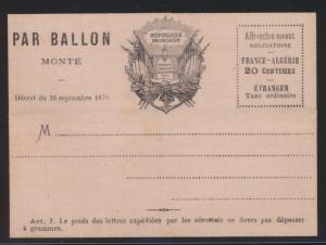 Flugpost air mail Ballonpost Ballon Monte Frankreich France 20 c. Faltbrief von