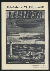Zeppelin Flugpost air mail Ungarn selt Flugkarte m. schönen Vignetten Philatelie