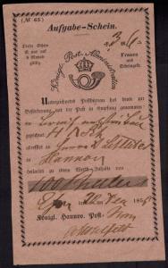 Brief Post Aufgabeschein Hannover in rot gute Erhaltung 1858