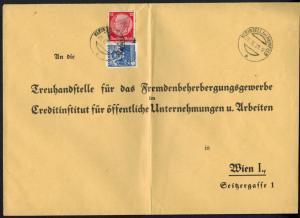 Deutsches Reich Brief selt. 2 Länder-MIF Kleinzell Wien Österreich 1938