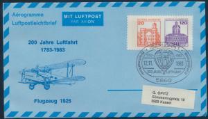 Bund Privatganzsache Flugpost 20 n. 120 Burgen SSST Iserlohn 200 Jahre Luftfahrt
