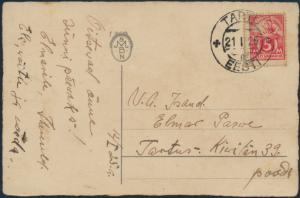 Estland Postkarte 37 A Tartu 21.1.1925 Geburtstagsgruß Blumenkranz