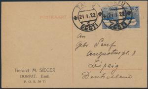 Estland Postkarte 28 im Paar von  Tartu nach Leipzig 21.1.1922