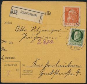 Bayern Paketkarte MIF 81 II+95 I Schmittshausen Kaiserslautern