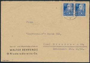 Sowjetische Besetzung Postkarte 216 Paar Niederrodewitz nach Dresden