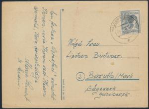 Alliierte Besetzung Postkarte Ostern EF 947 Haldersleben nach Baruth 24.3.1948