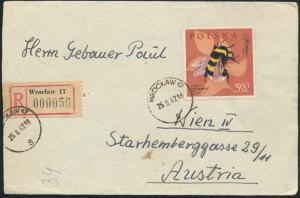 Polen Brief R-Brief 1288 Warschau nach Wien 25.8.1962 Tiere Insekten Bienen