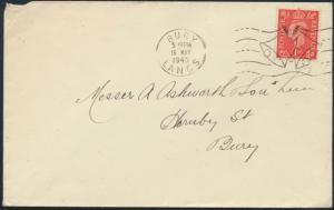 Großbritannien Brief 222 ab Bury mit Fahnenstempel V - Victory Glocken 16.5.1945