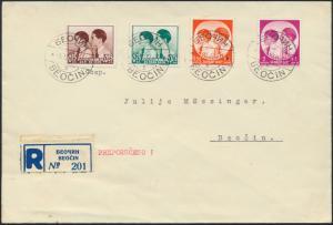 Jugoslawien R-Brief MIF 330-333 Beočin Kinderhilfe