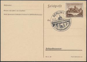 Deutsches Reich Postkarte 730y selt. SST Berlin 5. Reichsbundestag Brandenburger