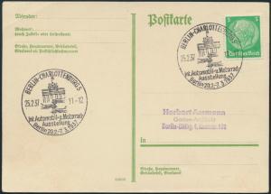 Deutsches Reich Postkarte 515X SST Auto-u. Motorrad Ausstellung Berlin