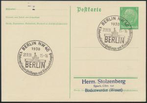 Reich Ganzsache SST Berlin Prüfungs-und Treuhand Kongreß Quadriga Brandenburger