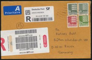 Brief Dänemark Einschreiben MIF 913+942+1491+1619 Kopenhagen nach Essen