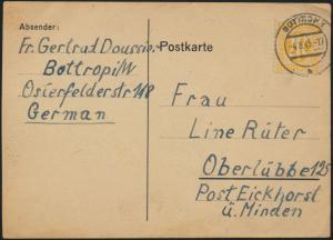 Postkarte Bizone EF 13 F 6 Pf Bottrop nach Eickhorst