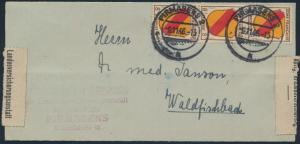 Franz. Zone Allg. Ausgabe Brief MEF 4 senkr 3er Streifen Pirmasens Waldfischbach