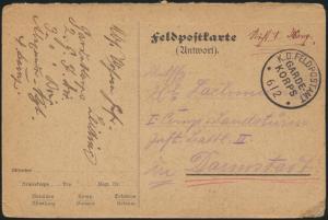 Feldpostkarte Vorduck als Antwortkarte K.D. Feldpostamt Garde Korps n. Darmstadt