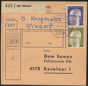 Bund Brief Paketkarte MIF Heinemann + Heckel Paketkarte Nindorf n. Kevelaer
