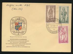 Berlin 132-4 Wiederaufbau Kirche Glauben FDC SST Charlottenburg 25 Jahre Bistum