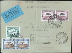Flugpost Afrika Namibia 138 164-5 166-7 R-Brief Paar 3+10 p.Kimberley Kapstadt
