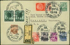 Reich R Brief 2 Länder Österreich Ostland inter Destination Wien Oakland USA mit
