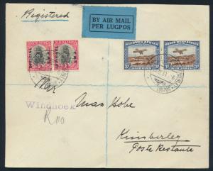 Afrika Namibia 164-5 D 19-20 FLugpost Brief Erstflug als Einschreiben je Paar 3p