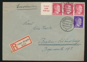 Deutsches Reich R Brief Zusammendruck Hitler Lugau nach Berlin 25.4.1942
