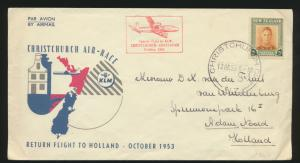 Flugpost air mail Neuseeland New Zealand Christchurch to Amsterdam Niederlande