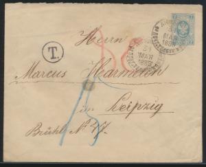 Rußland Ganzsache GSU 2k nach Leipzig mit Nachgebühr Russia postal stationery