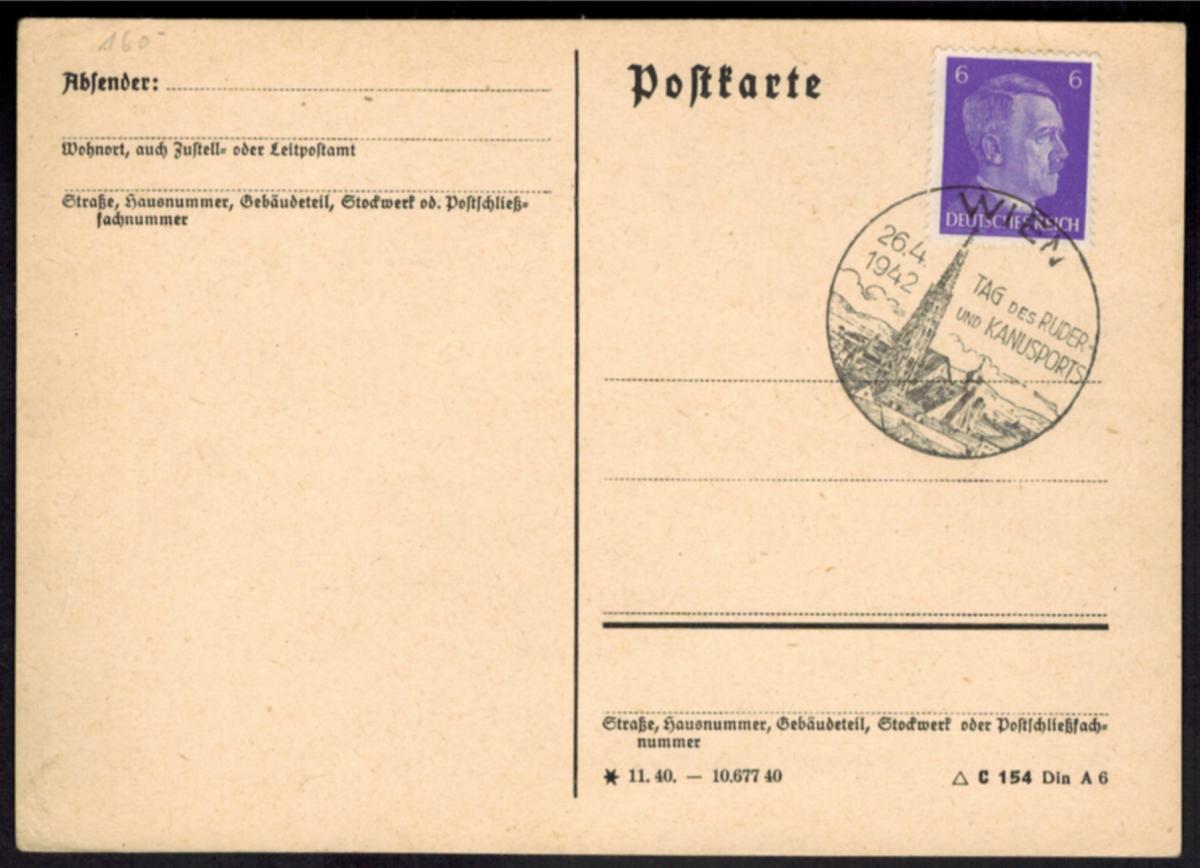 Deutsches Reich Wassersport SST Wien Österreich Tag des Ruder u. Kanusports 1942 0
