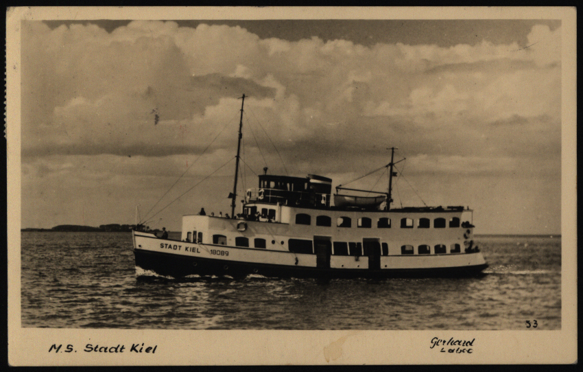 Ansichtskarte Schiff M.S. Stadt Kiel Ostseebad Strande ab Dänischenhagen Altona 0