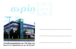 PIN Mail: Ganzstück (Postkarte), Logistikzentraum der PIN Mail AG