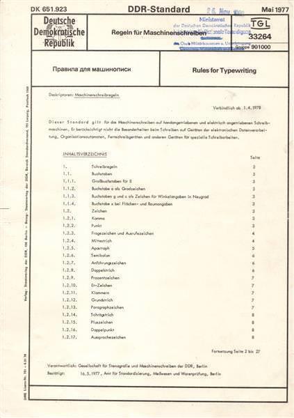 DDR: TGL 33264 für Maschineschreiben, gebraucht