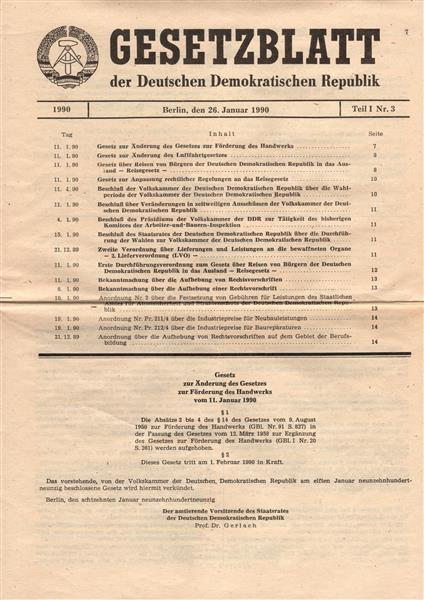 DDR: Gesetzblatt zur Förderung des Handwerks, neuwertig