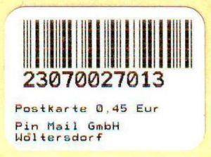 PIN Mail, Woltersdorf: Notmarke vom 13.05.2009 zu 0,45 EUR, postfrisch
