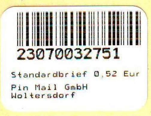 PIN Mail, Woltersdorf: Notmarke vom 10.11.2008 zu 0,52 EUR, postfrisch