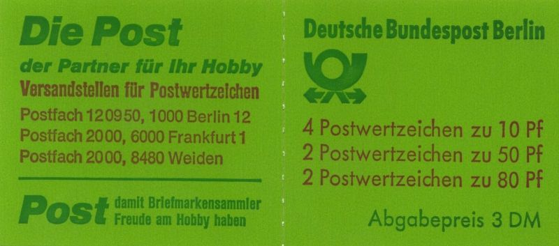Berlin (West): MiNr. MH 13 a oZ, 00.07.1982,