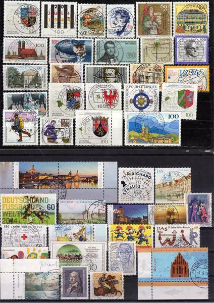 BRD: LOT mit fast 100 fast verschiedenen Briefmarken auf 4 Steckkarte 0