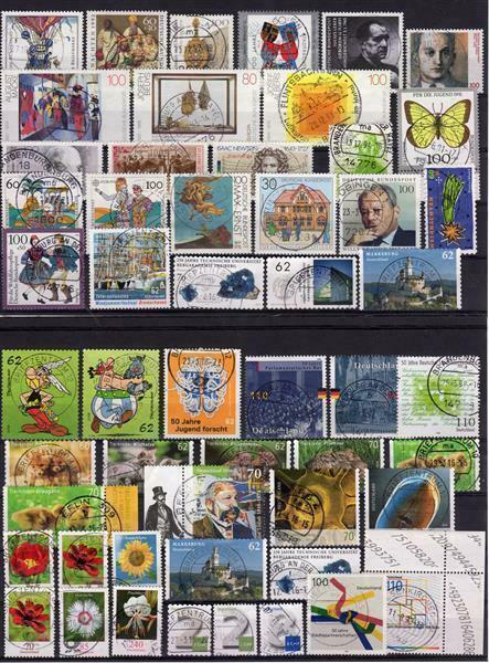 BRD: LOT mit fast 100 fast verschiedenen Briefmarken auf 4 Steckkarte 1