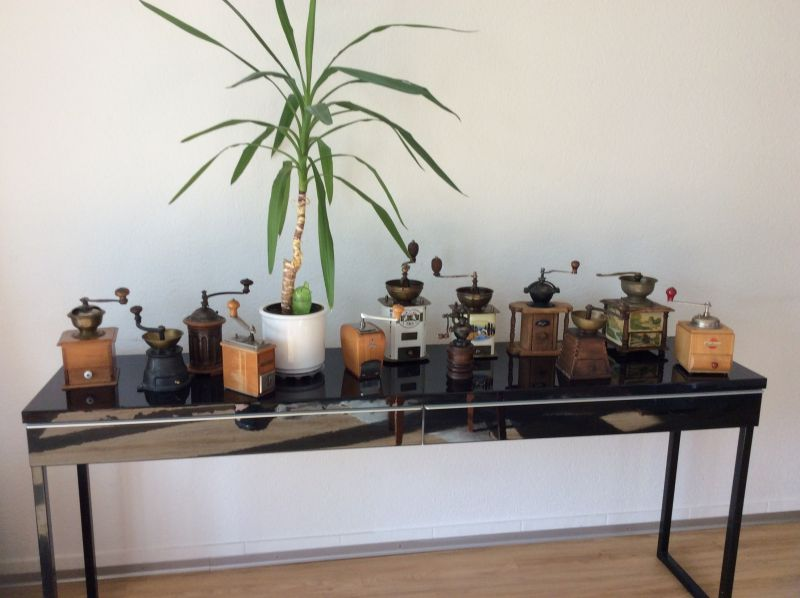 Sammlung von 12 Antiken Kaffeemühlen aus der ganzen Welt.