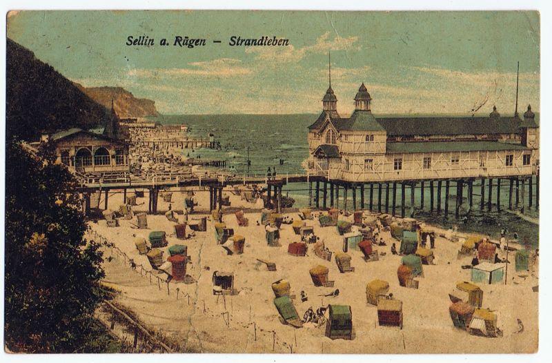 Sellin Rügen Strand Strandleben Seebrücke gelaufen 1925