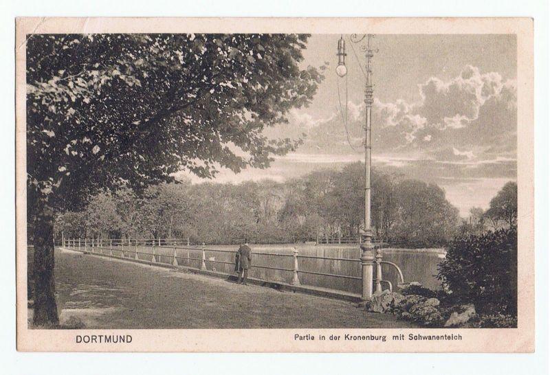 Dortmund Kronenburg Schwanenteich, gel.1916 Feldpost