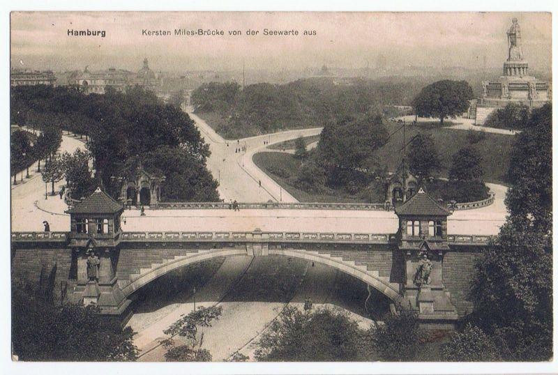 Hamburg Kersten Miles Brücke und Bismarck Denkmal von der Seewarte aus