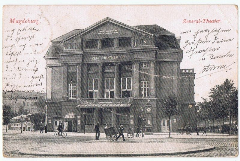 Magdeburg Zentral - Theater gel. 1916
